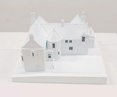 House at Kilmacolm (1902), Charles Rennie Mackintosh. Laser Painted PVC with painted photo-etched brass detailing and acrylic. Scale 1:75. Commissioned from and made by Brian S. Gallagher. B. G. Models Ltd. Biggar (2014). GLAHA:56686.