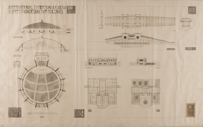Charles Rennie Mackintosh, Design for 1901 Glasgow International Exhibition Buildings Competition: sections and plans for a concert hall, bar, dining room and bridge, 1898.