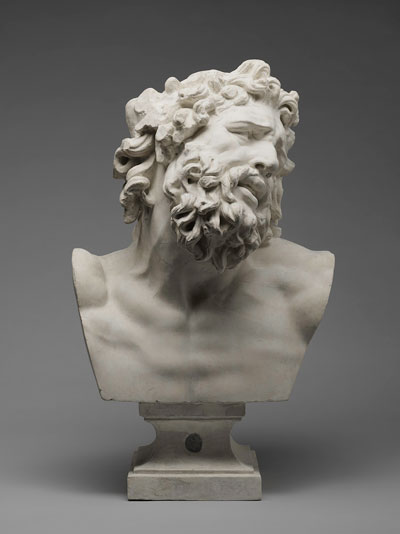 Jean-André Getti, manufactured by Musée du Louvre Atelier de Moulage, Head of Laocoön, after the Antique, c. 1803. Painted plaster and inset lead. Harvard University Portrait Collection, P12.A. Photo: Harvard Art Museums; © President and Fellows of Harvard College.