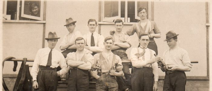 Erskine Archives Goes Online Photo of Case study James Henderson at Erskine (he on the left front row)