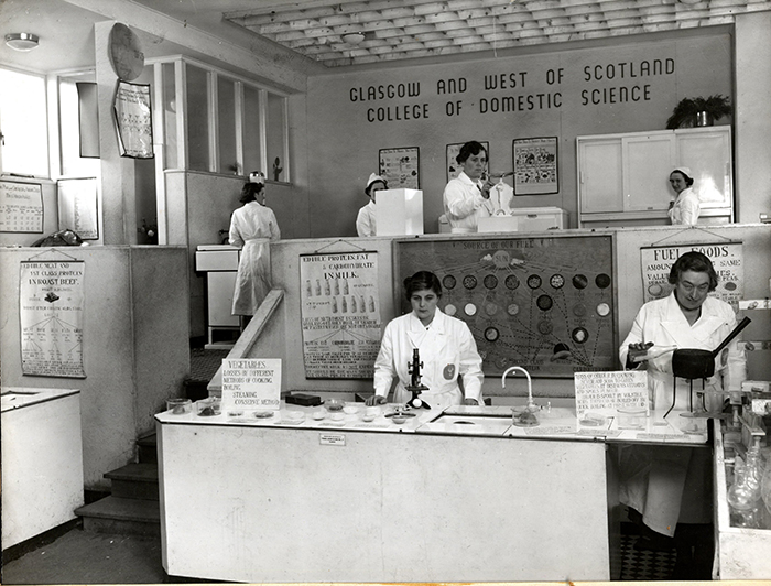 In 1938 Andross [bottom right] and the staff and students of the Glasgow and the West of Scotland College of Domestic Science set up a nutrition centre at Glasgow's Empire Exhibition. Courtesy of Archives and Special Collections, Glasgow Caledonian University.