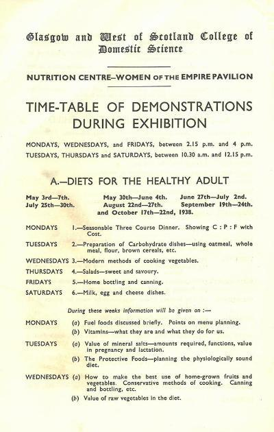Crowds flocked to the College's demonstrations - and were so popular that the recipe cards for specimen dishes were routinely removed by an eager public. Courtesy of Archives and Special Collections, Glasgow Caledonian University.