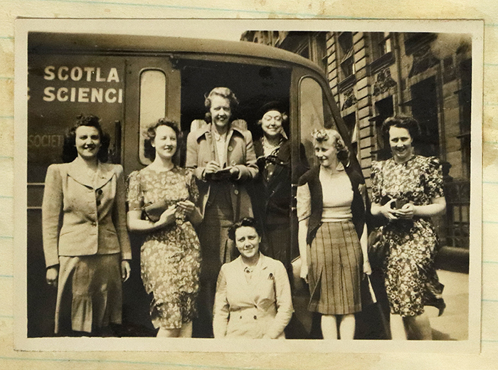 "Andross on tour, circa 1941. This van was gifted to the College by the American Federation of Business and Professional Women and was used for roving in the ""Save the Fruit"" campaign.  Courtesy of Archives and Special Collections, Glasgow Caledonian University."