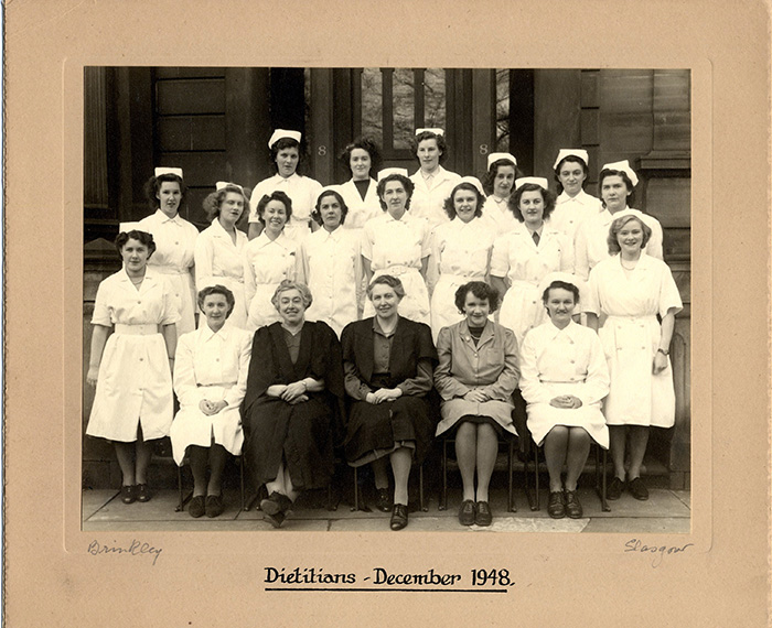Diploma Day with Andross and one of her dietetics classes in 1948. Courtesy of Archives and Special Collections, Glasgow Caledonian University.