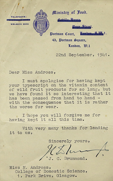 Letter from Ministry of Food praising Andross' paper 'Vitamin Content of Wild Fruit Products' (held in GCU Archive Centre). Courtesy of Archives and Special Collections, Glasgow Caledonian University.