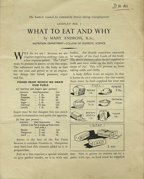 Leaflet (No. 1) by Andross for the Scottish Council for Community Service during Unemployment, 1937. Courtesy of Archives and Special Collections, Glasgow Caledonian University.