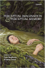 book cover: painting of a young white woman with brown hair laying down with her eyes closed in a river surrounded by mossy rocks. title reads Perceptual Imagery and Perceptual Memory