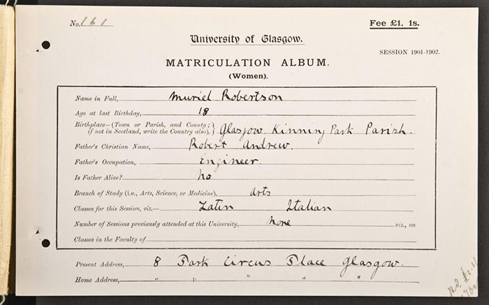 Muriel Robertson Matriculation card
