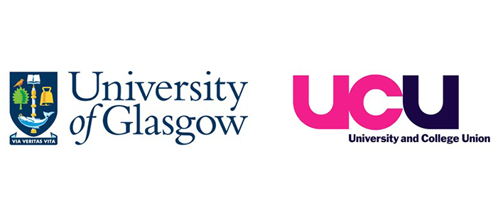 Logos for the University of Glasgow and the University and College Union