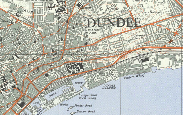 The Dundee Docks, where Drummond completed here apprenticeship in 1922.