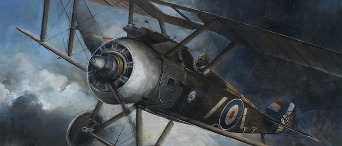Wings to War RAF Centenary Exhibition. Painting by Professor Dugald Cameron