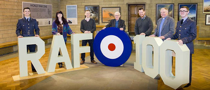 Image celebrating the RAF100 exhibition in the Memorial Chapel.
