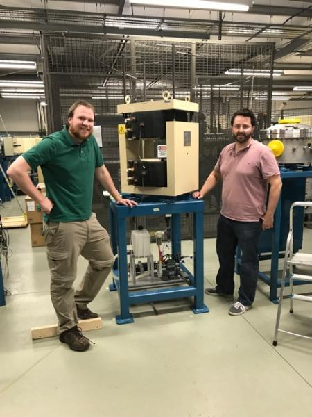 Kenny (NEC) and Rich (SUERC), positioning the first PIMS bending magnet (BM1)