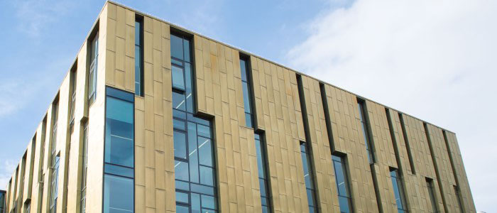Image of the top of the Sir Michael Stoker building