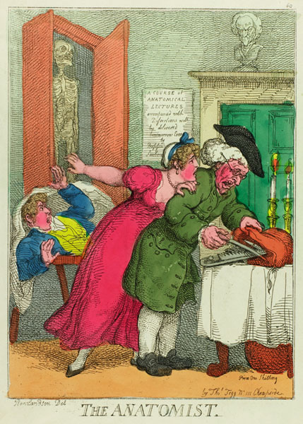 Cartoon drawing by Thomas Rowlandson. An anatomist stuffs tools into a bag while in the background a well dressed young man lying on a table appears to have come to in surprise at his situation. A well-dressed lady may be pleading with the anatomist.