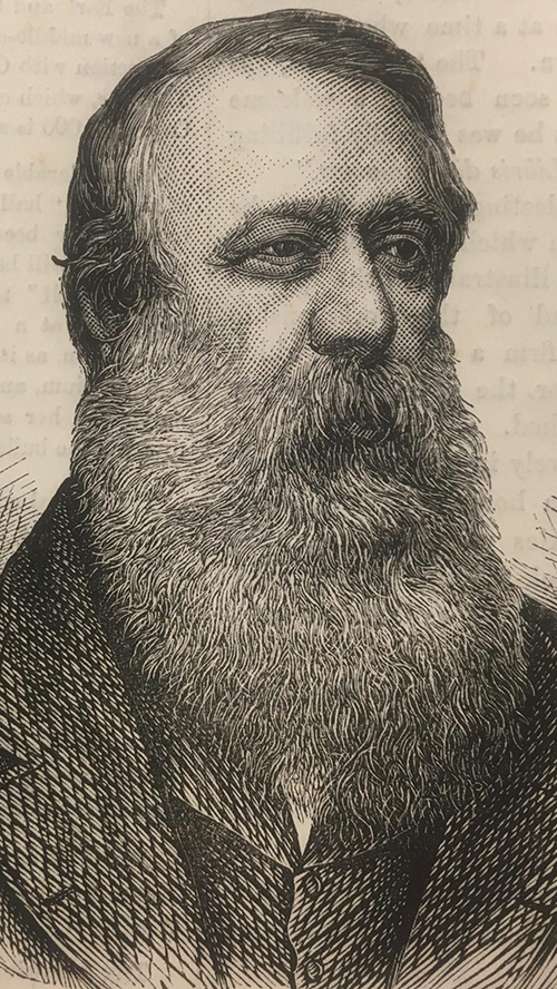 Portrait of Walter Graham Blackie, printed image, text visible from reverse side of page