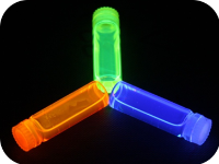 Glowing plastic containers