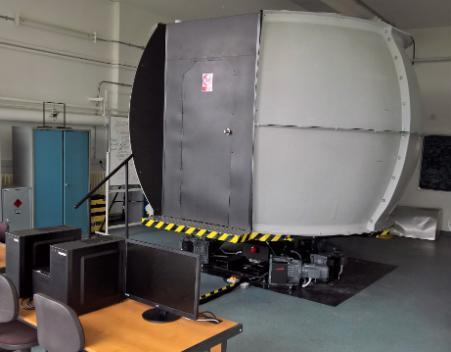Photo of the Daedalus 1 flight simulator - external view of the dome