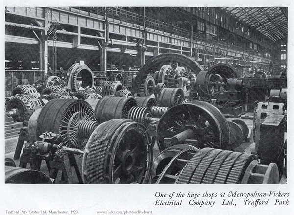 The Metropolitan-Vickers plant at Trafford Park Industrial Estate, where Anne worked from 1930 to 1945. Image courtesy of Clive Hurst under the terms of an Attribution-NonCommercial 2.0 Generic license (CC BY-NC 2.0)