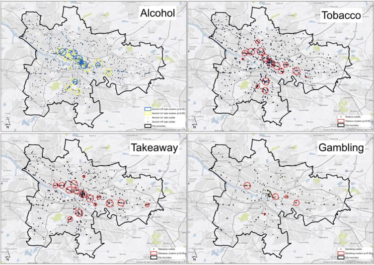 Research study: Do 'environmental bads' such as alcohol, fast food, tobacco, and gambling outlets cluster and co-locate in more deprived areas in Glasgow City, Scotland?