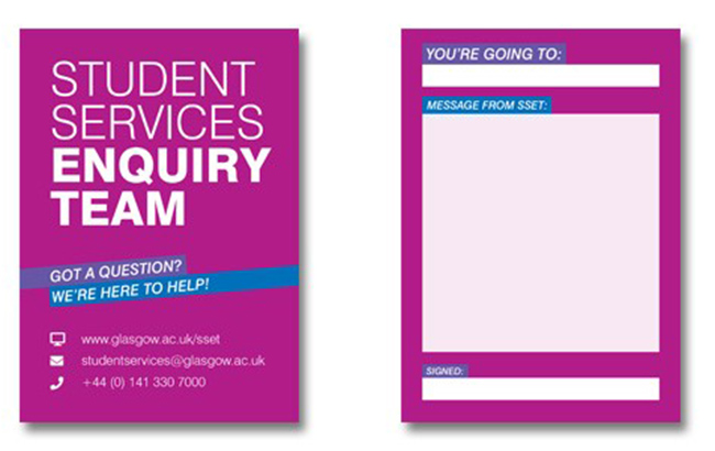 Student enquiry team cards
