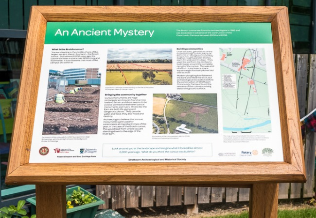 Urban prehistory in the playground: new noticeboard unveiled on the Strathearn Community Campus Archaeology Trail
