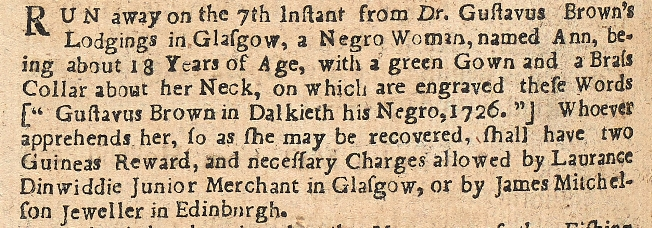 Launch of Runaway Slaves Database - Runaway Slave Advertisement Ann. © Special Collections/ The Mitchell Library/Museums and Collections/Glasgow Life
