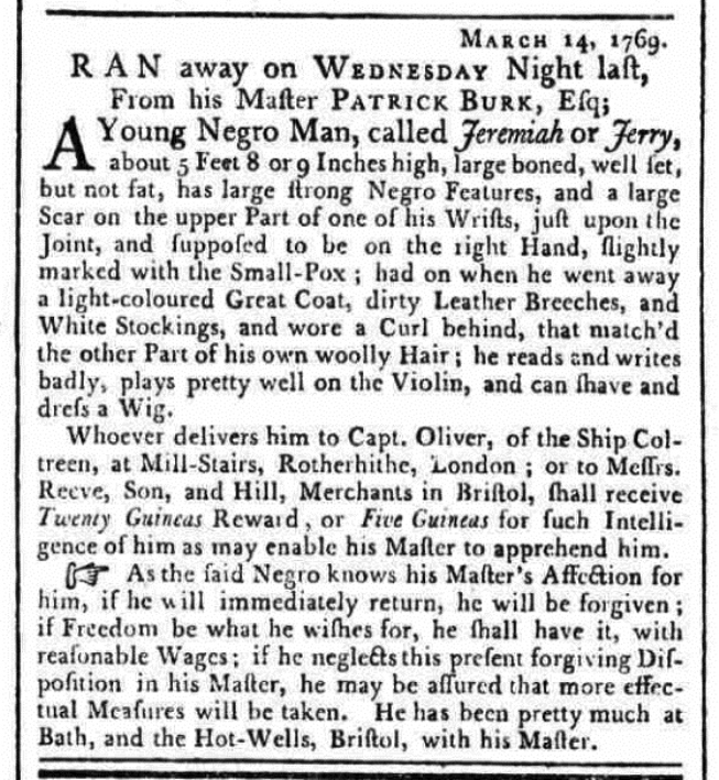 Launch of Runaway Slaves in Britain database - Jeremiah Advertisement © The British Library Board and British Newspaper Archives (www.britishnewspaperarchive.co.uk