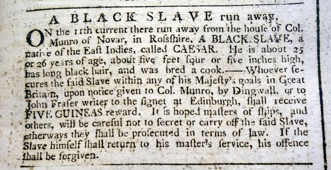 Launch of the Runaway Slaves in Britain database - Advertisement Caesar © The British Library Board and British Newspaper Archives (www.britishnewspaperarchive.co.uk