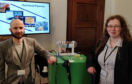 Mr James Martin and Dr Holly Lay with a Sonopill presentation at the Royal Society, London.