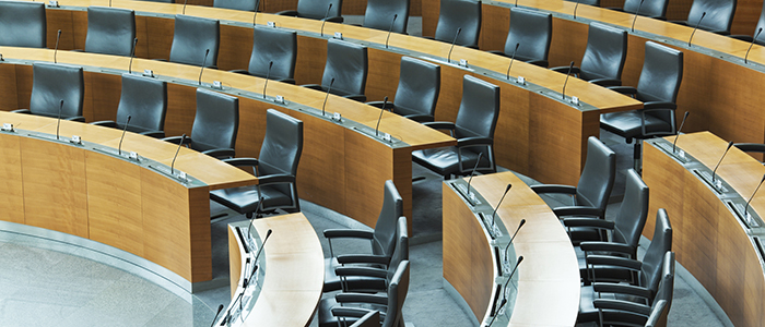 A large conference room or a debating hall