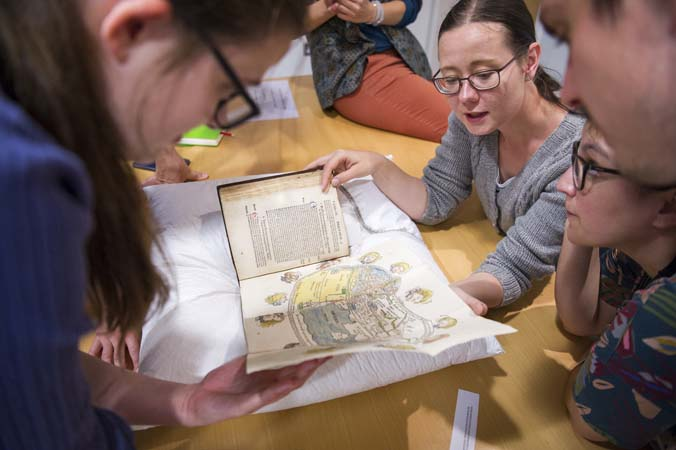 Delegates at the UNIVERSEUM conference, Object Journeys study day, Archives and Special Collections, 12 June 2018.