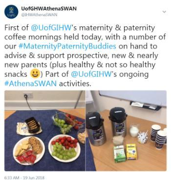 Tweet about IHW maternity and paternity coffee morning