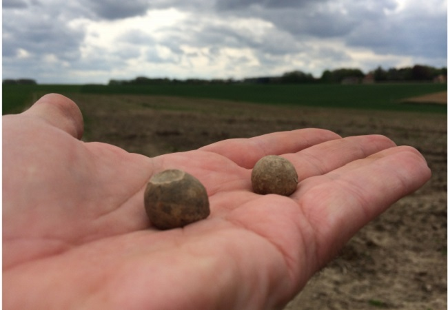 French and British musket balls found by archheologists at the Waterloo battlefield