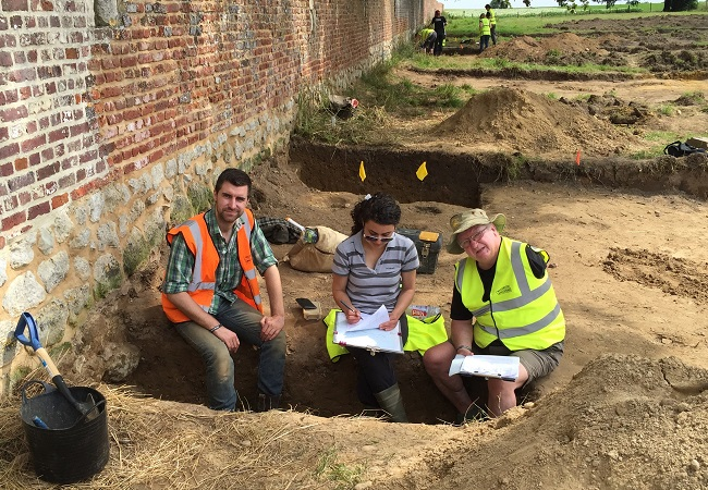 Veterans and Military personnel along with archaeologists at a Waterloo Uncovered dig at Battle of Waterloo