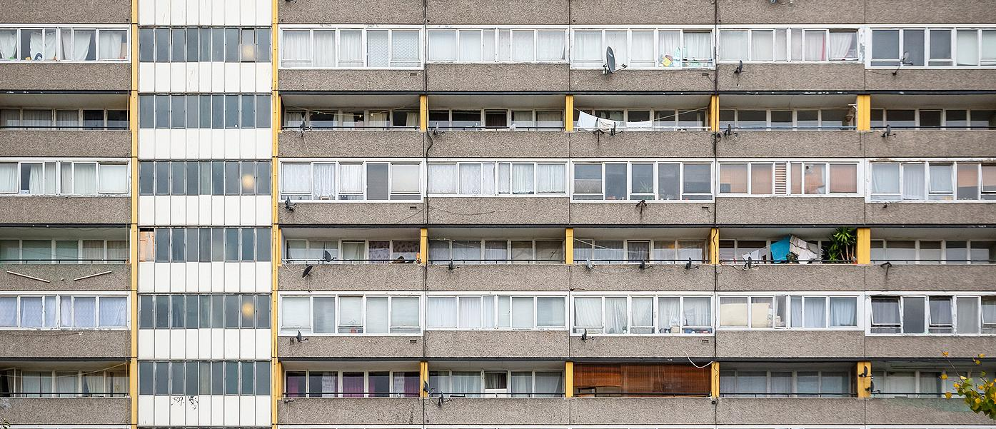 Facade of old council tower block around Walworth area in south east London. 1400 pixels