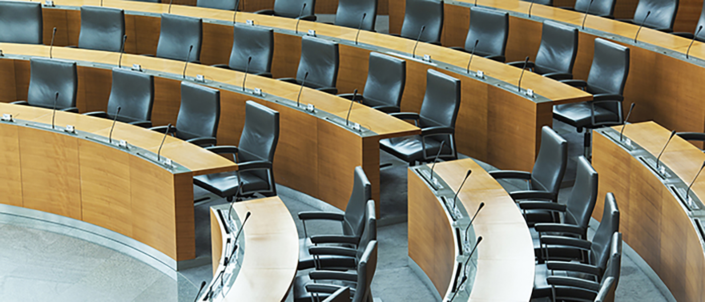 Photograph of empty debating chamber