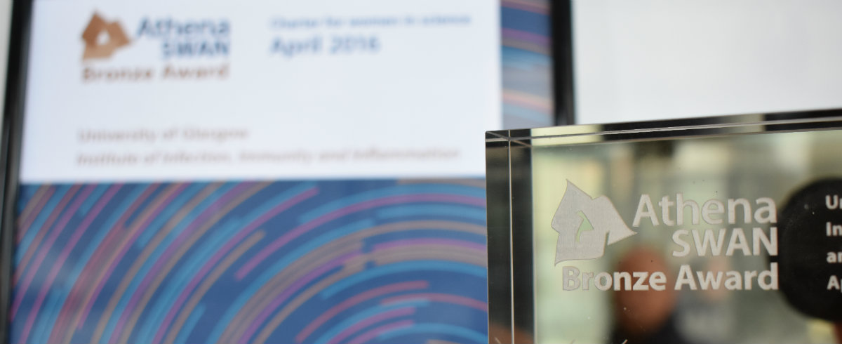 A close up of our Athena SWAN bronze award certificate and trophy