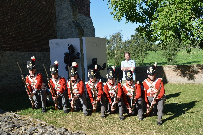 Professor Tony Pollard with British Napoleonic re-enactors launches The Great Game: Waterloo Replayed on July 16 at the site of the Battle of Waterloo