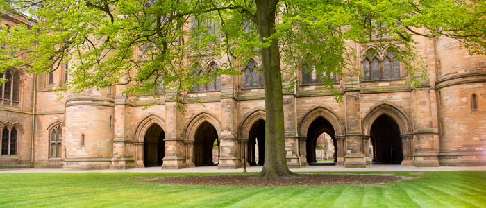 Photo of University of Glasgow cloisters, quadrangle and trees