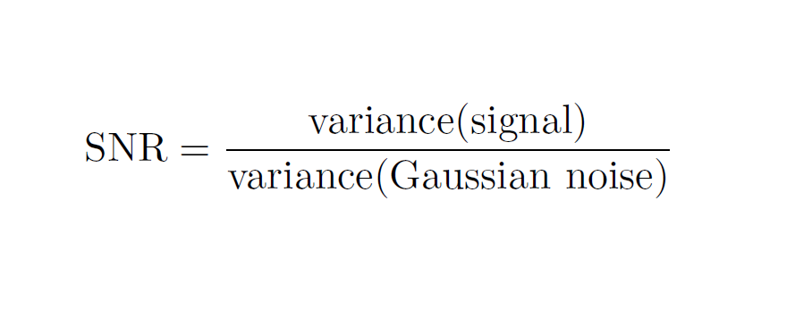 The equation for the calculation of the signal to noise ratio