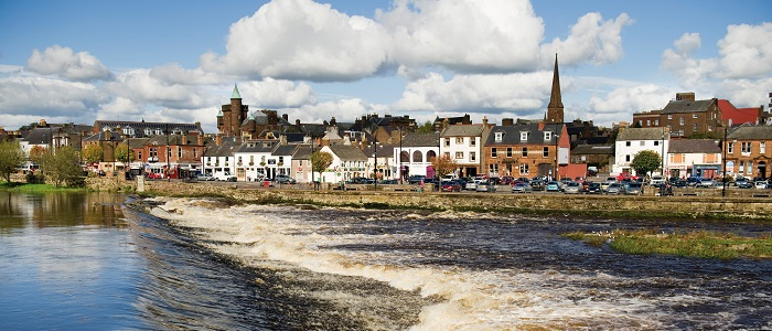 River Nith in Dumfries with buildings on Whitesands