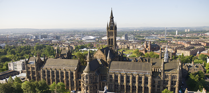 aerial view of University of Glasgow campus