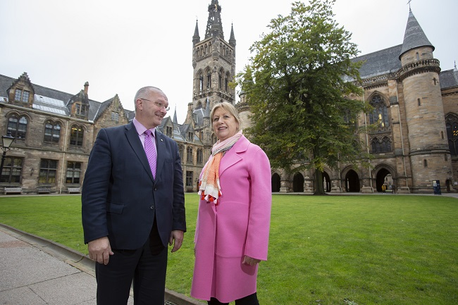 Former President of Ireland, Mary McAleese who has joined the University of Glasgow as a Professor of Children, Law and Religion with Professor Roibeard Ó Maolalaigh, Vice Principal and Head of the College of Arts at the University of Glasgow.