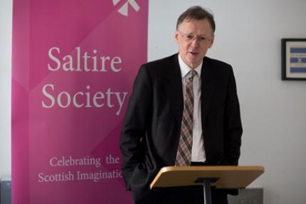 Photo of Professor Graham Watt receiving the Fletcher of Saltoun award