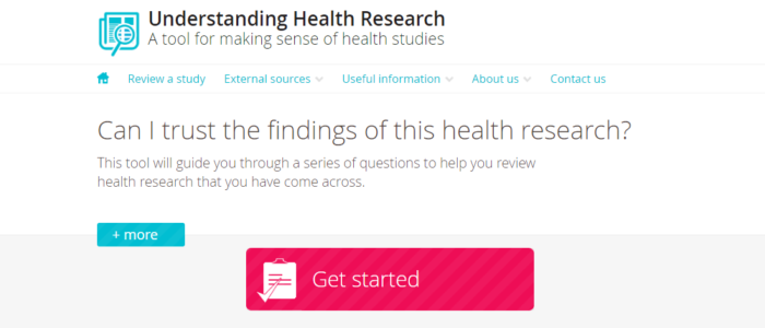 screenshot of the Understanding Health Research homepage, 768x600px
