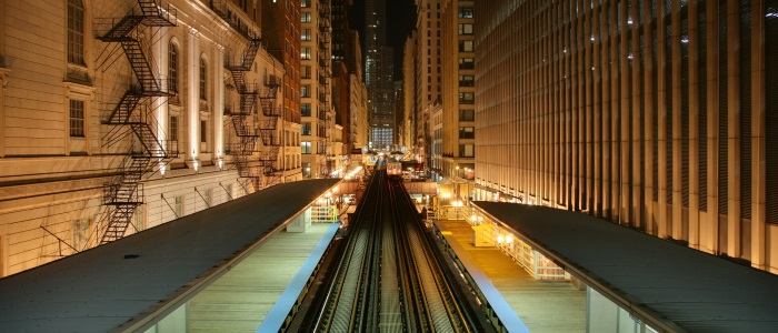 Elevated train line in Chicago at night