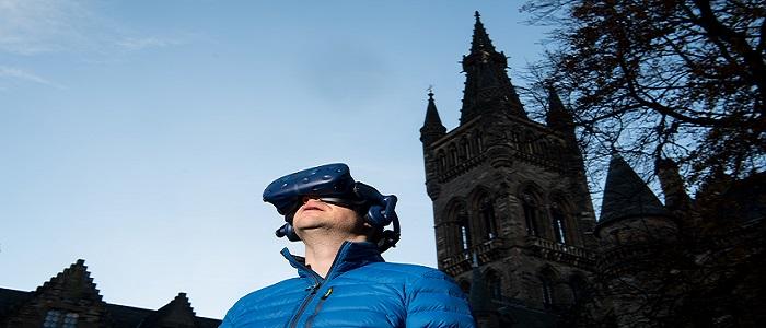 Photo of Dr Neil McDonnell for the announcement of funding for Virtual Reality Classrooms and Teaching Resources to be created by University of Glasgow.