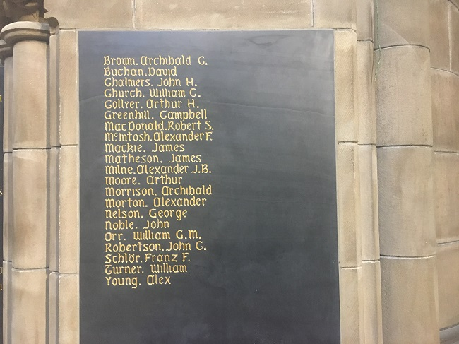 New names - 21 in total - added to walls of Memorial Chapel WW1
