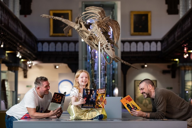 Comics Night at the Museum in front of plethiosaur at The Hunterian